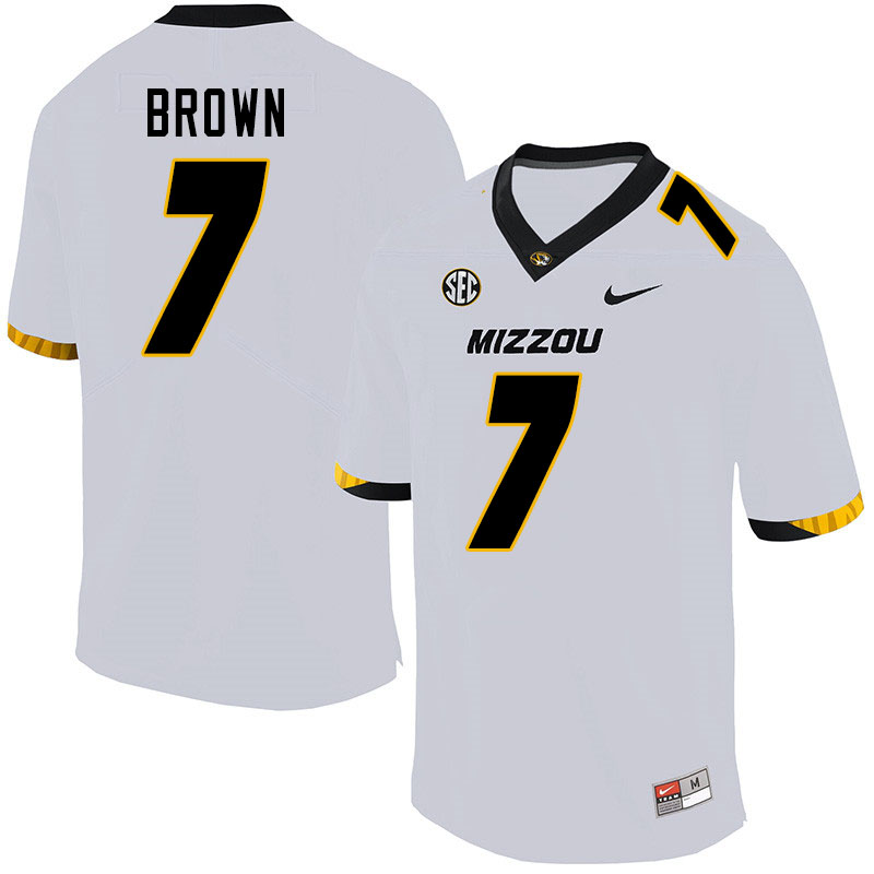 Men #7 Stacy Brown Missouri Tigers College Football Jerseys Sale-White