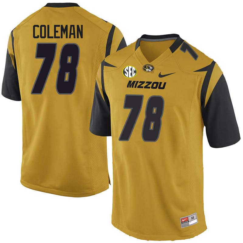 Men #78 Pompey Coleman Missouri Tigers College Football Jerseys Sale-Yellow