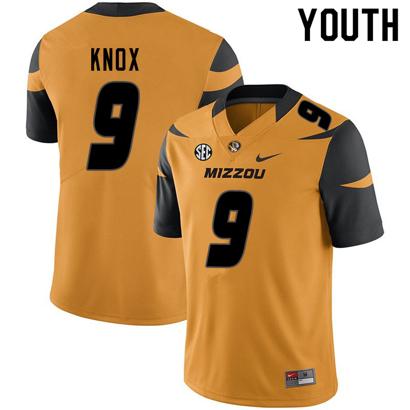 Youth #9 Jalen Knox Missouri Tigers College Football Jerseys Sale-Yellow
