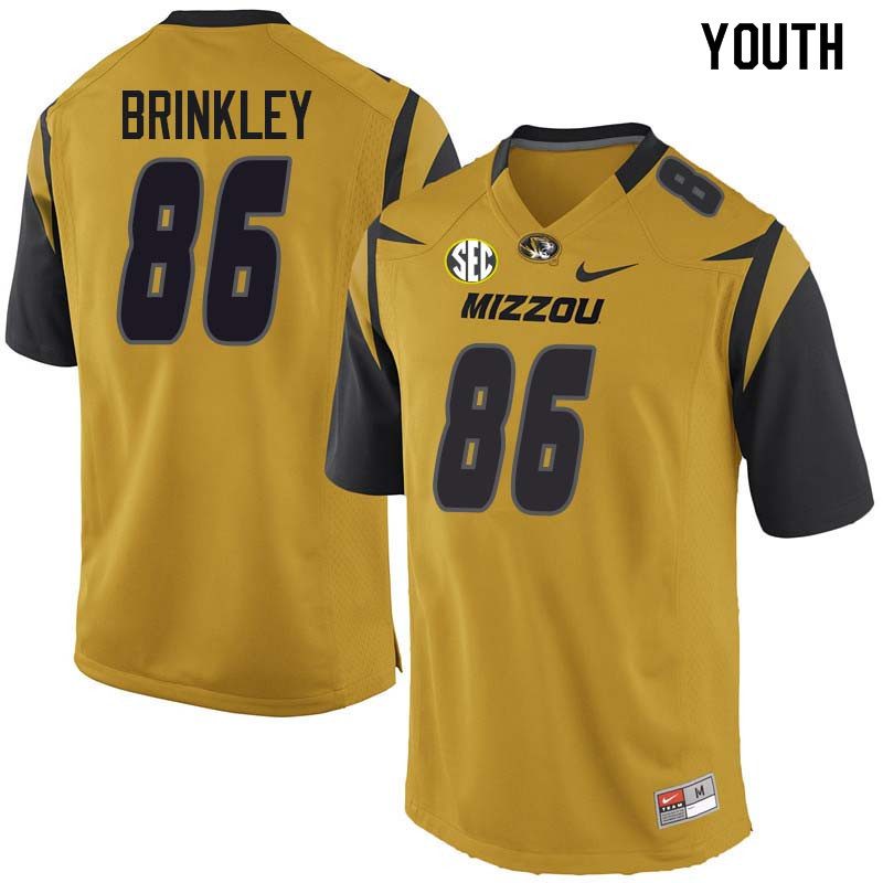 Youth #86 Beau Brinkley Missouri Tigers College Football Jerseys Sale-Yellow