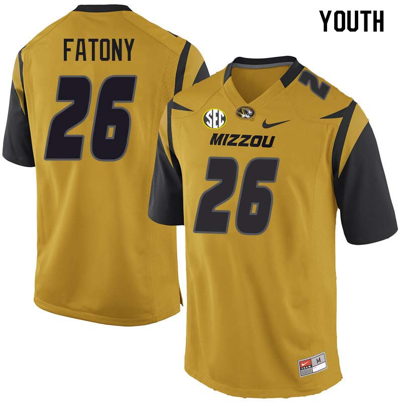 Youth #26 Corey Fatony Missouri Tigers College Football Jerseys Sale-Yellow
