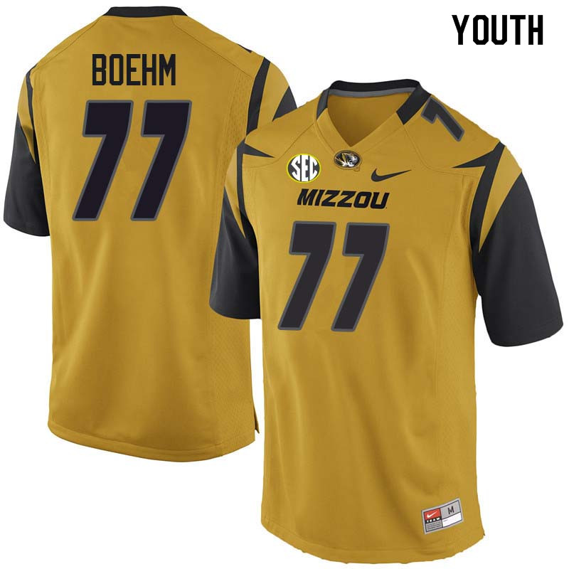 Youth #77 Evan Boehm Missouri Tigers College Football Jerseys Sale-Yellow