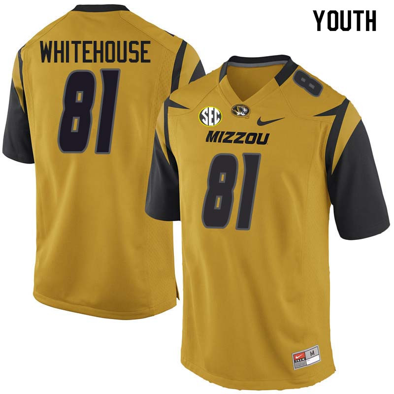 Youth #81 Harley Whitehouse Missouri Tigers College Football Jerseys Sale-Yellow