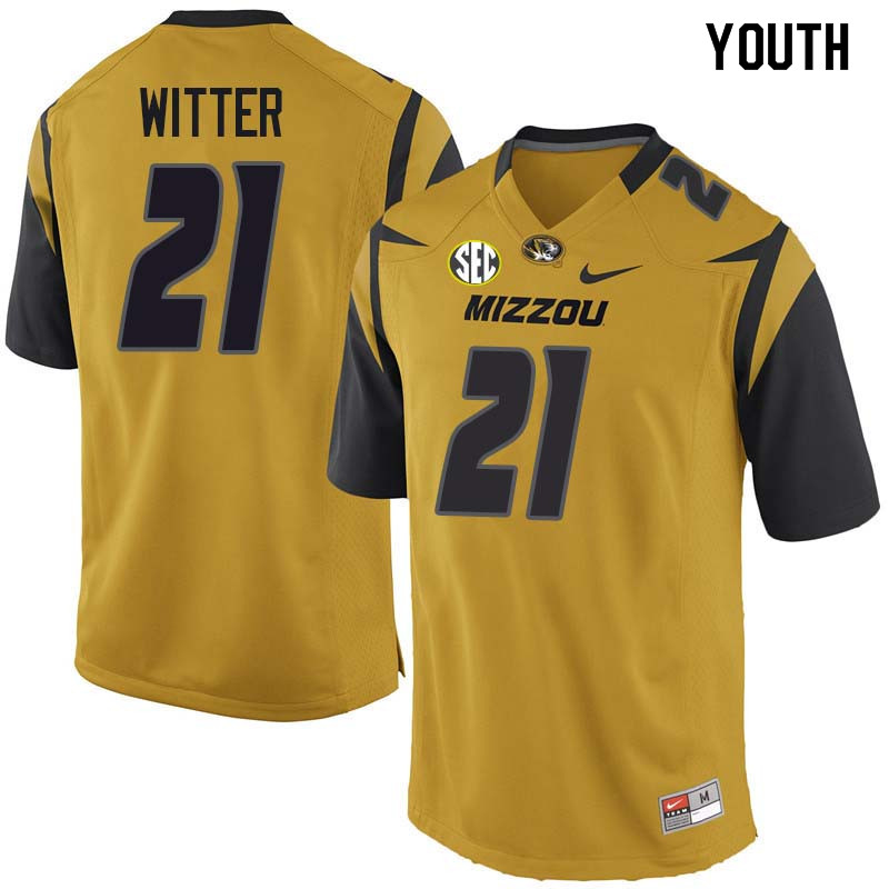 Youth #21 Ish Witter Missouri Tigers College Football Jerseys Sale-Yellow