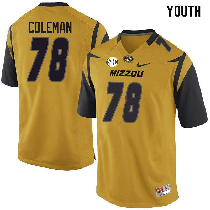 Youth #78 Pompey Coleman Missouri Tigers College Football Jerseys Sale-Yellow